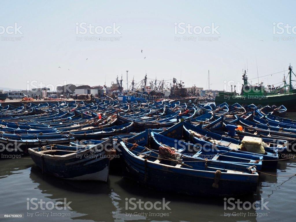 Fishing boats in Essaouira stock photo