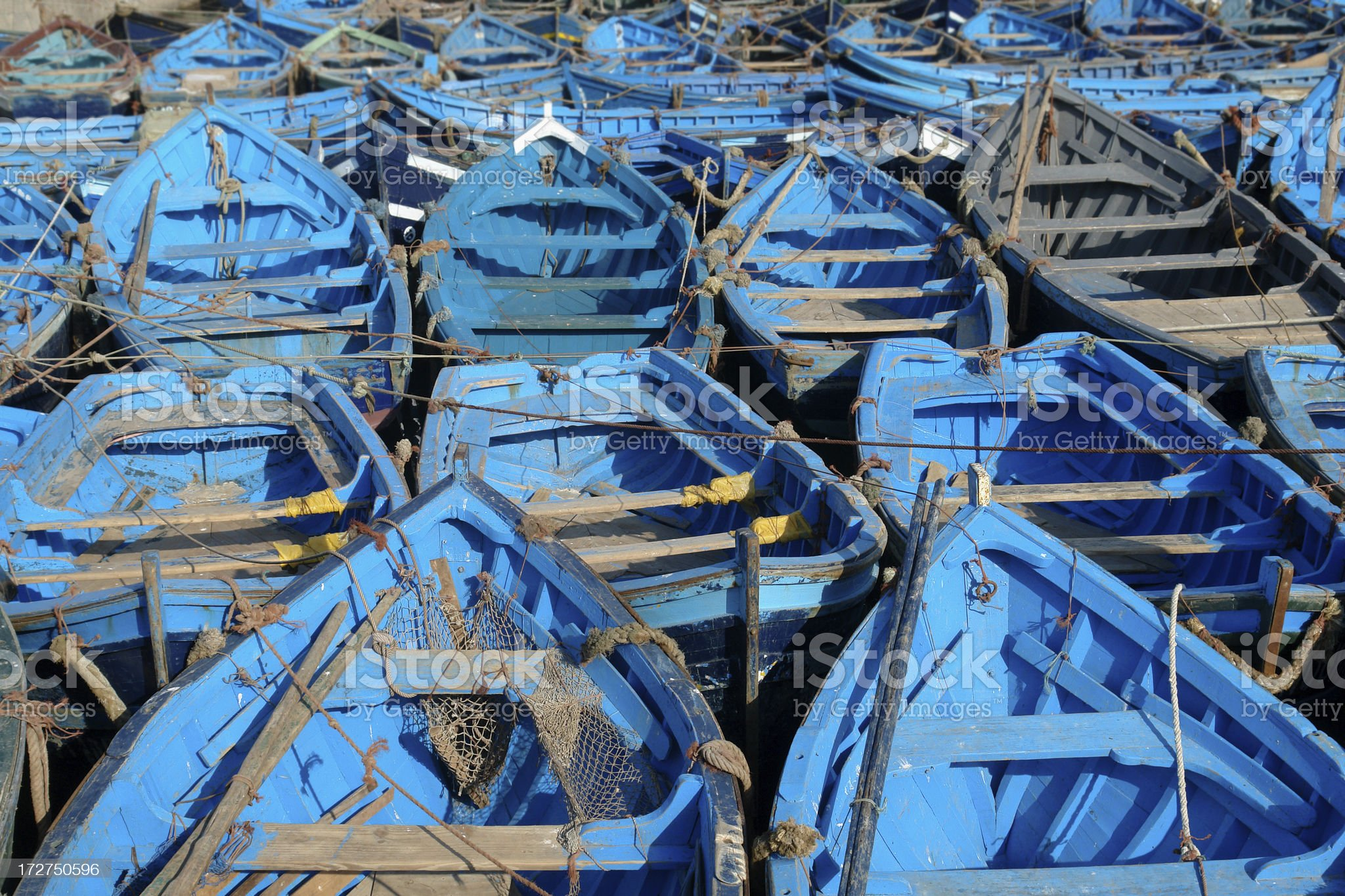 Fishing Boats in Essaouria Port, Morocco royalty-free stock photo