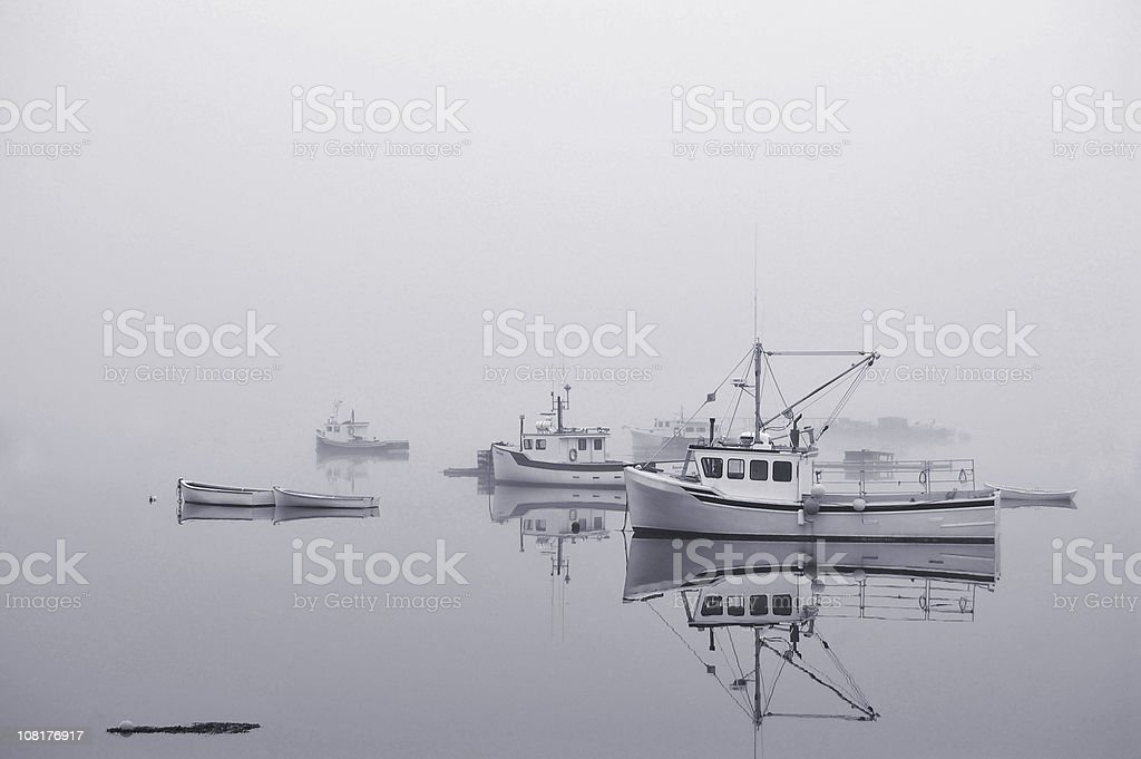 Fishing Boats in Harbour, Black and White stock photo