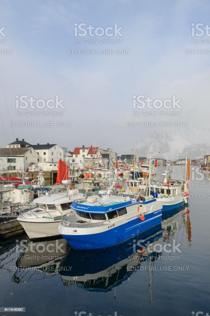Fishing boats in Henningsvaer in winter in the Lofoten, Norway stock photo