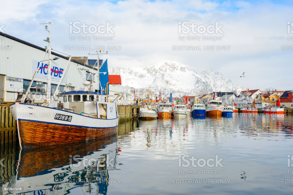 Fishing boats in Henningsvaer in winter in the Lofoten, Norway stock photo
