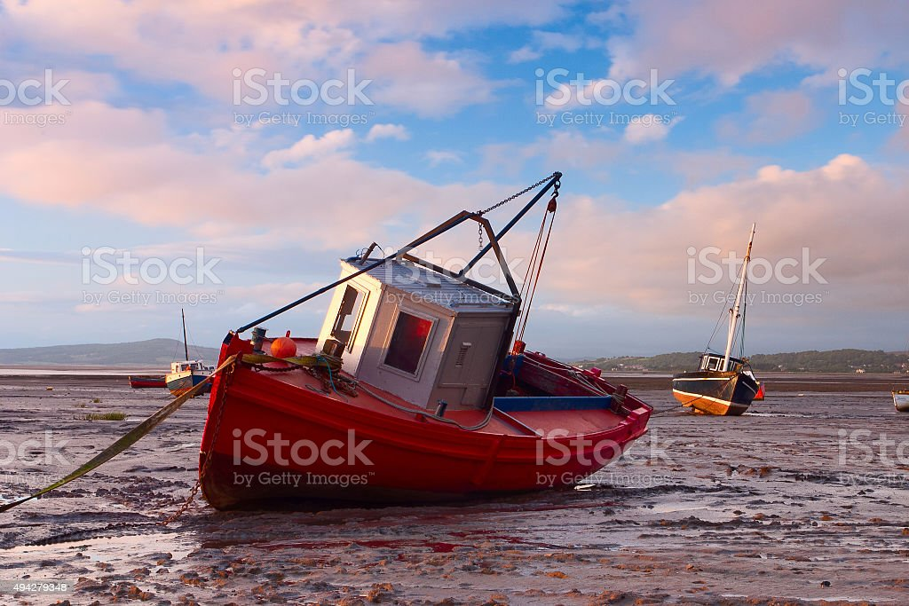 Fishing boats in Morecambe Bay stock photo