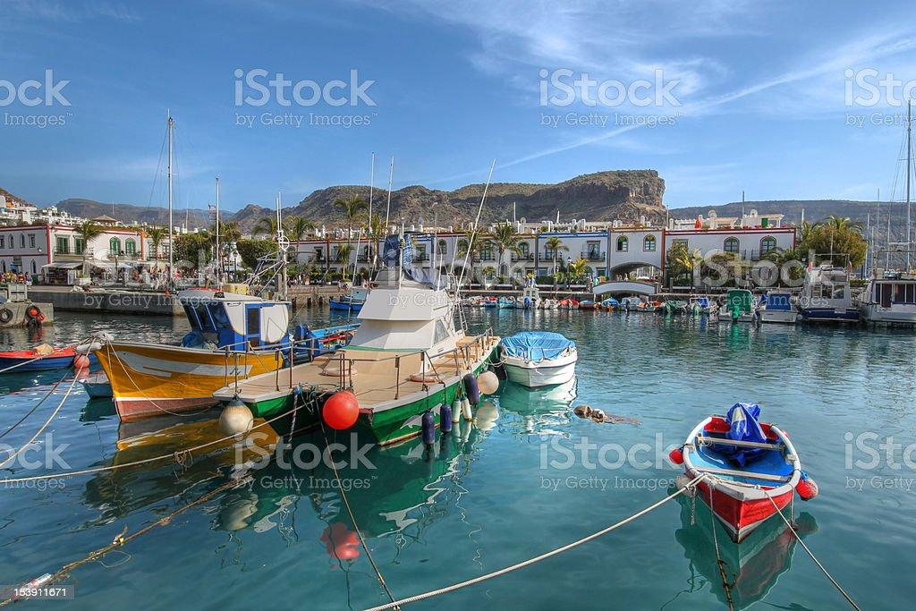 Fishing boats in Puerto de Mogan, Gran Canaria, Spain stock photo