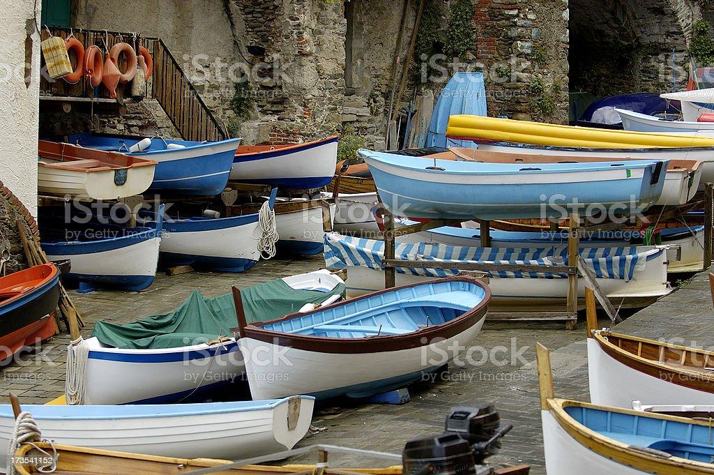 Fishing boats in Riomaggiore, Italy stock photo