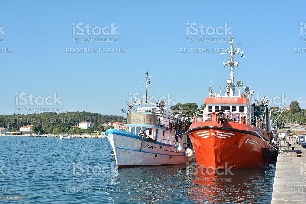 Fishing boats in Rovinj stock photo