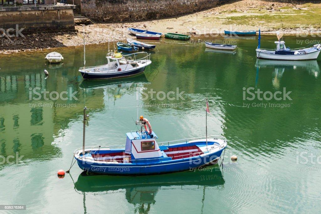Fishing boats in San Vicente de la Barquera, Spain stock photo