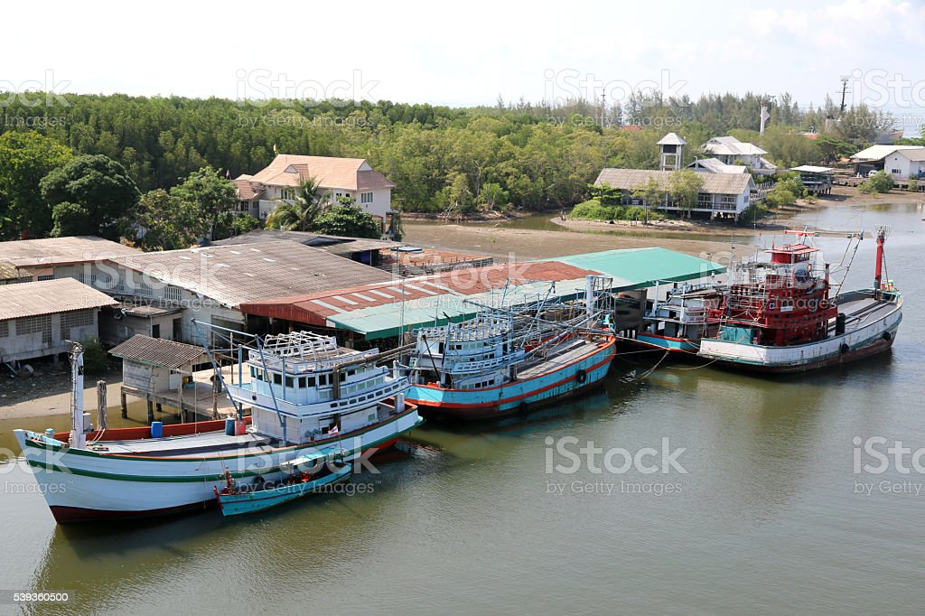 Fishing boats in Thailand. Rayong,Thailand. stock photo