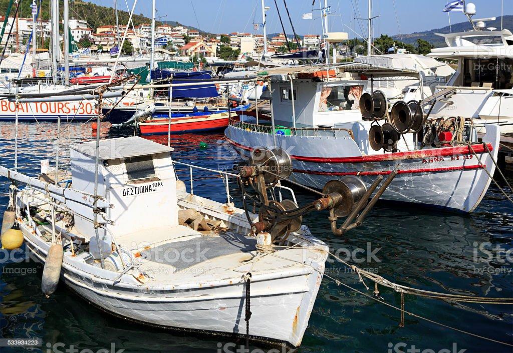 Fishing Boats in the Aegean Sea. stock photo