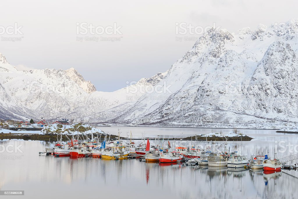 Fishing boats in the Austnesfjorden in winter in the Lofoten stock photo