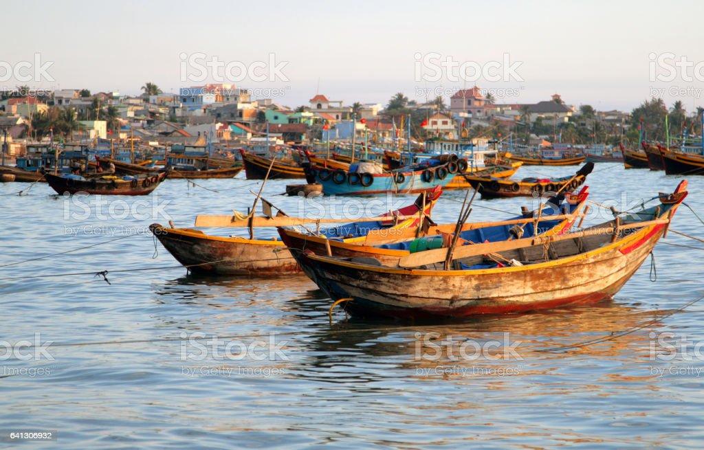 Fishing boats in the bay of Mui Ne, Vietnam stock photo