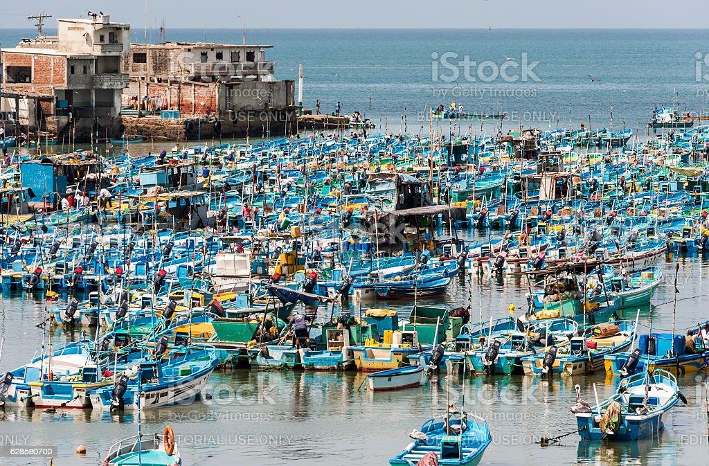 Fishing boats in the Bay of Santa Elena, Salinas, Ecuador stock photo