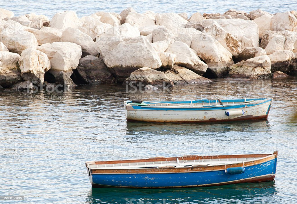 Fishing boats in the Gulf of Naples stock photo