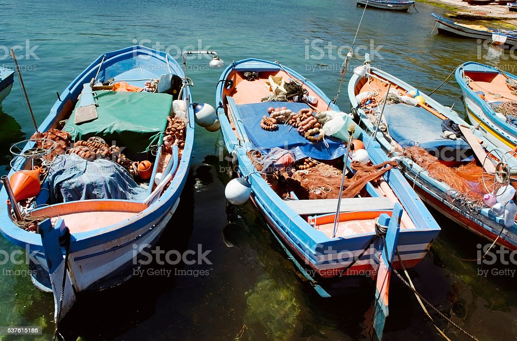 Fishing boats in the harbor of Mondello, Sicily stock photo