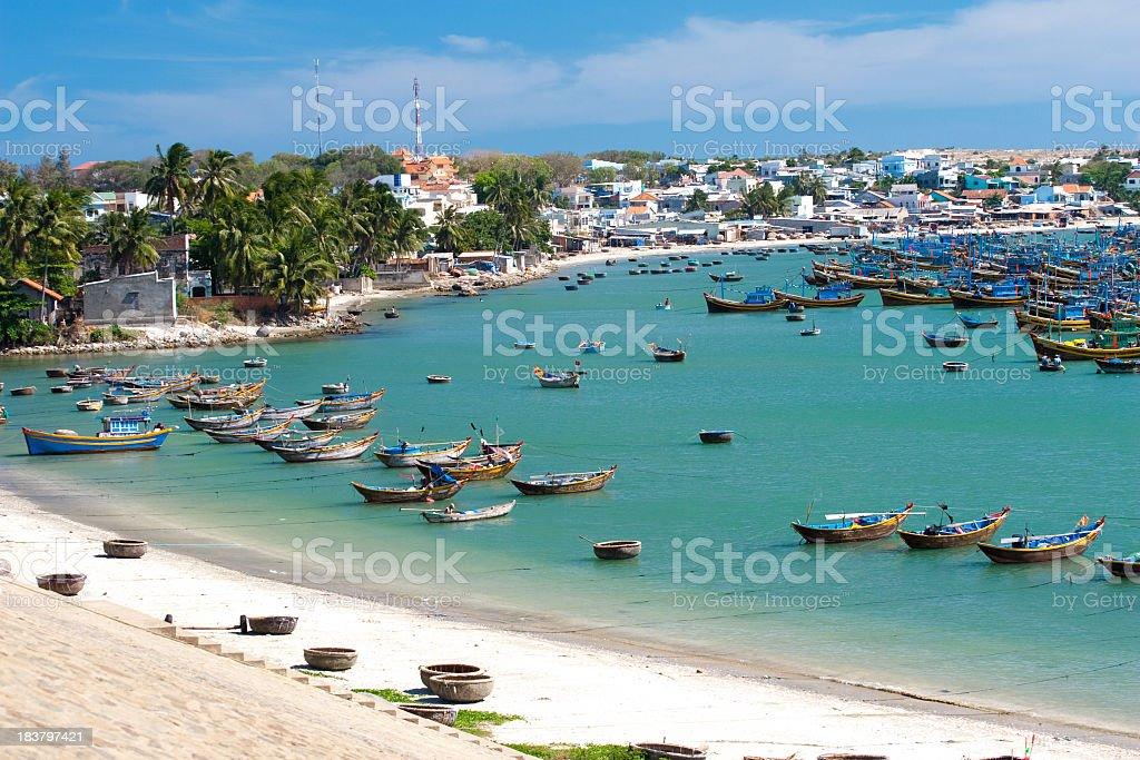 Fishing boats in the harbor of Mui Ne, Vietnam stock photo