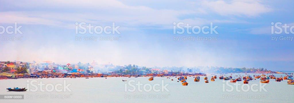fishing boats in the harbor of  Mui Ne - Vietnam stock photo