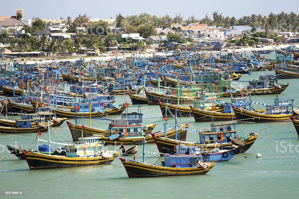 fishing boats in the harbor Vietnam Mui Ne stock photo
