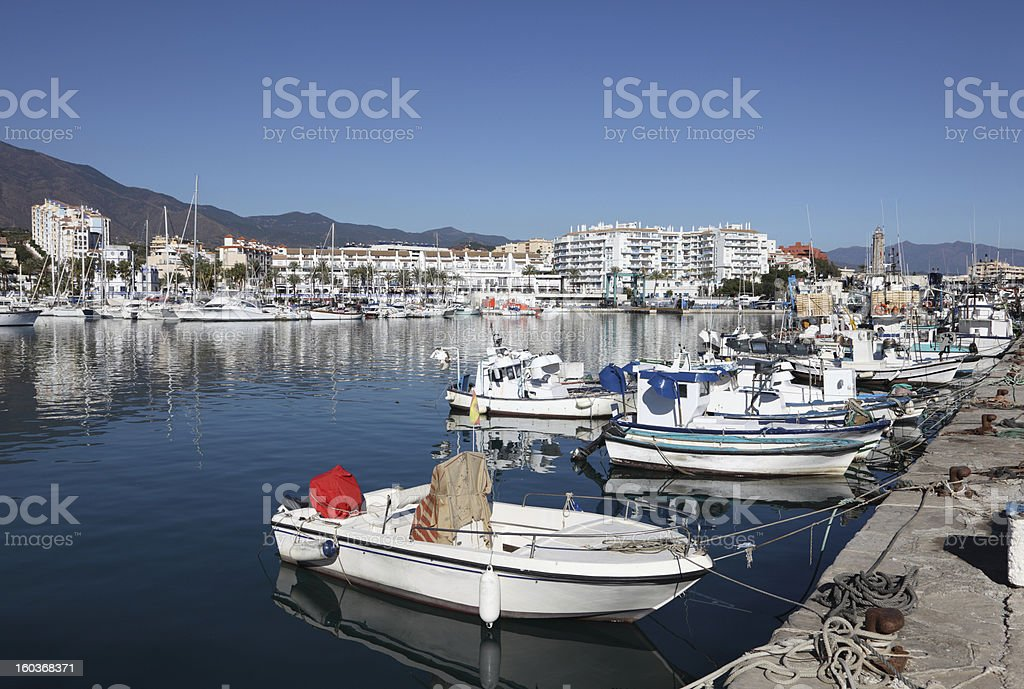 Fishing boats in the port of Estepona stock photo
