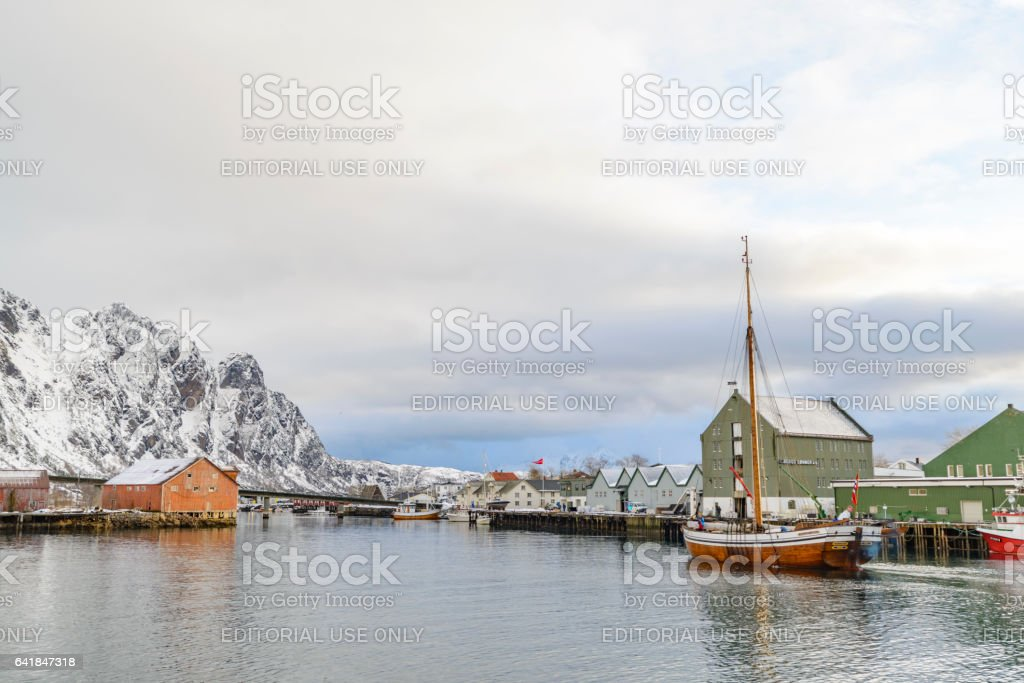 Fishing boats in the port of Svolvaer stock photo