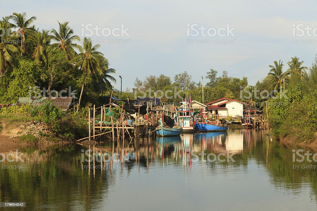 Fishing boats in the river, Thailand royalty-free stock photo