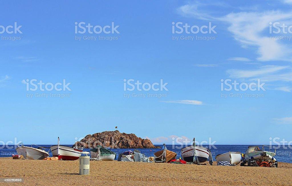 Fishing boats in Tossa de Mar stock photo