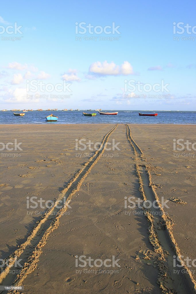 Fishing Boats in Tropical Beach (Brazil) royalty-free stock photo
