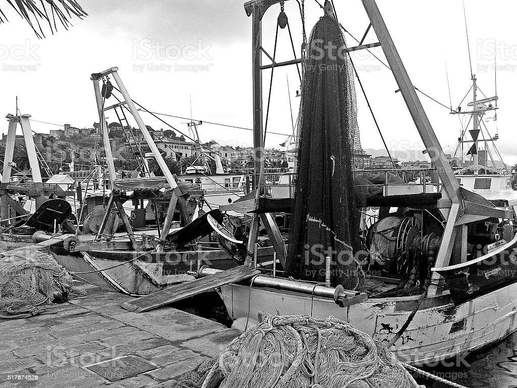 fishing boats light stock photo