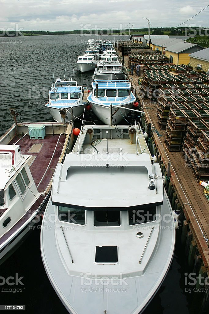 Fishing Boats Lined Up stock photo
