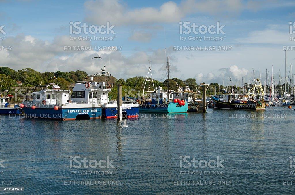 Fishing boats, Lymington, Hampshire stock photo