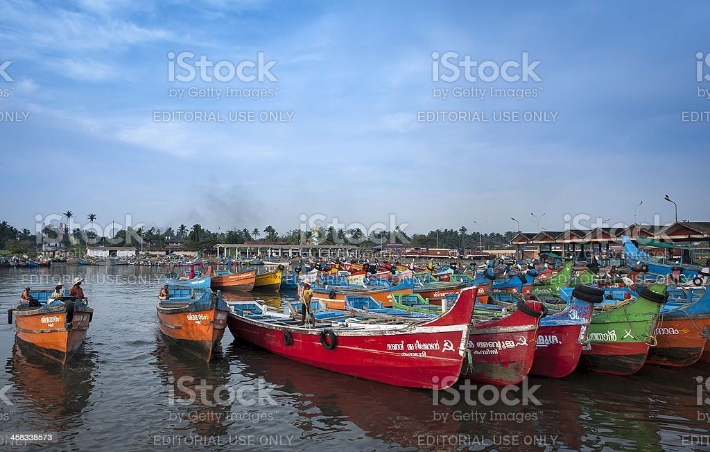 Fishing boats, Mapilla Bay harbour, Kannur, Kerala, India. stock photo
