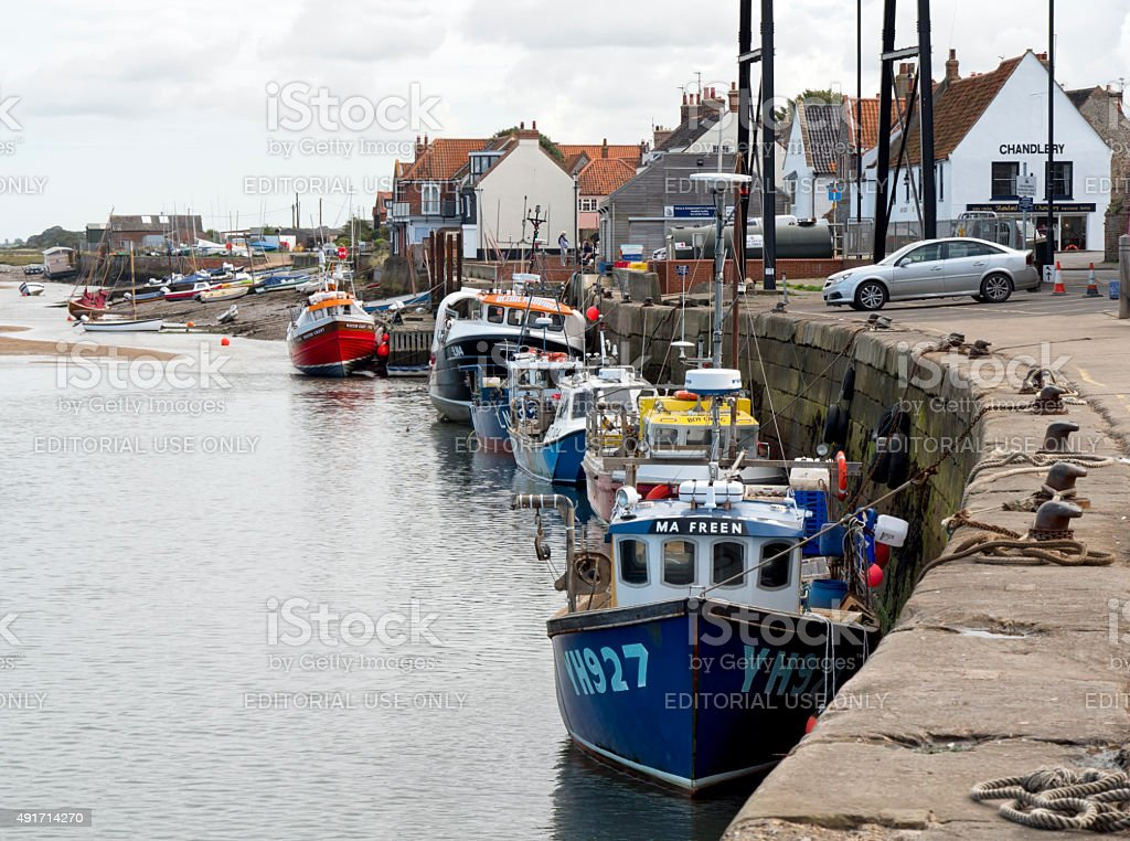 Fishing boats moored at Wells-next-the-Sea stock photo