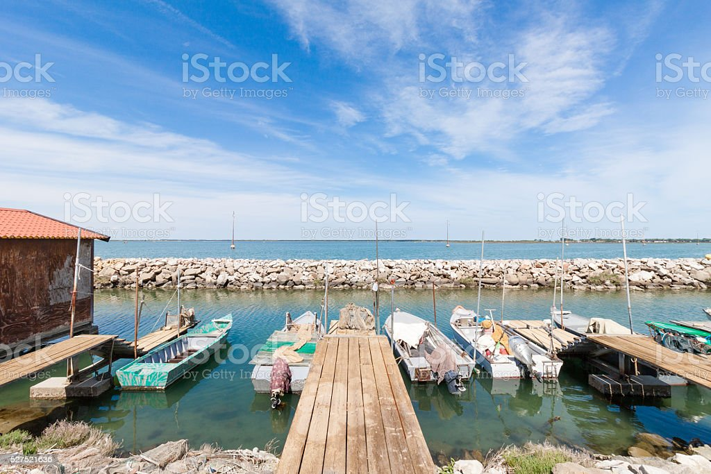 Fishing boats moored in Chioggia, Italy stock photo