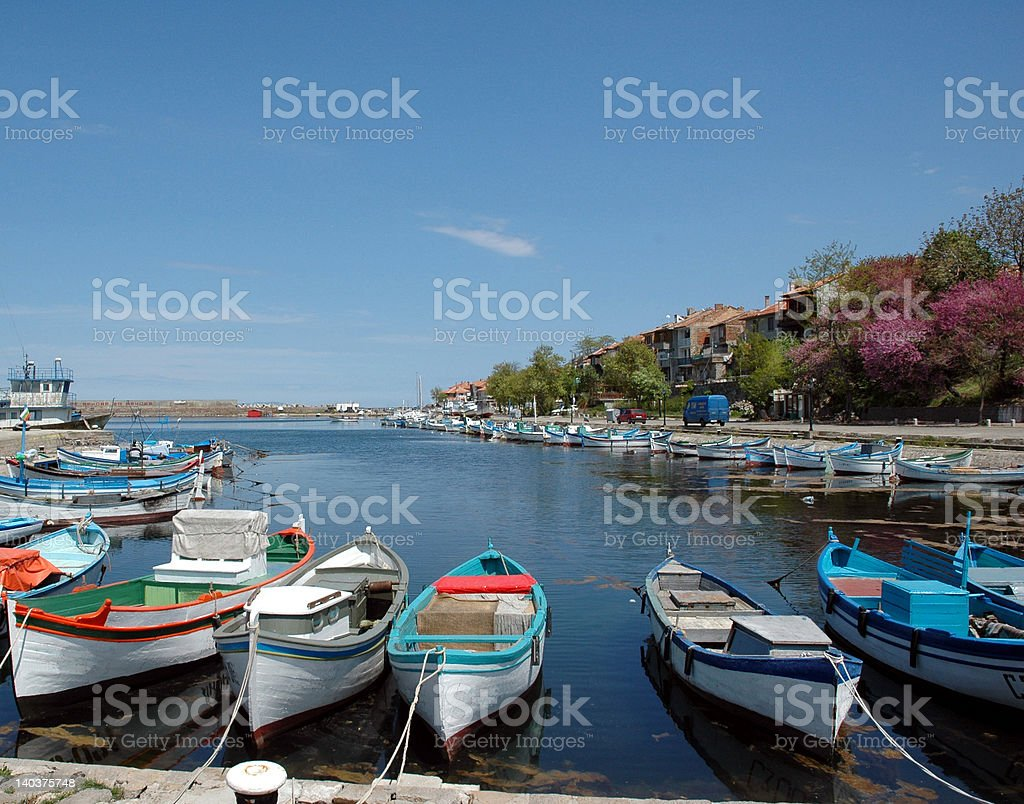 Fishing boats moored in Sozopol Harbour royalty-free stock photo