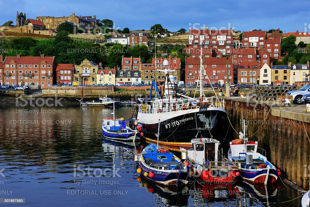 Fishing boats moored in Whitby Harbour stock photo