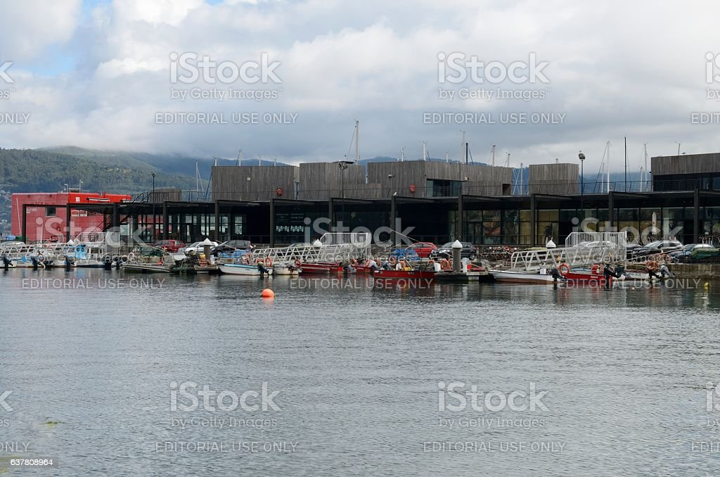 Fishing boats moored stock photo