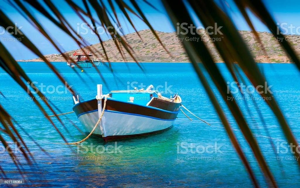 Fishing Boats off the coast of Crete, Greece stock photo