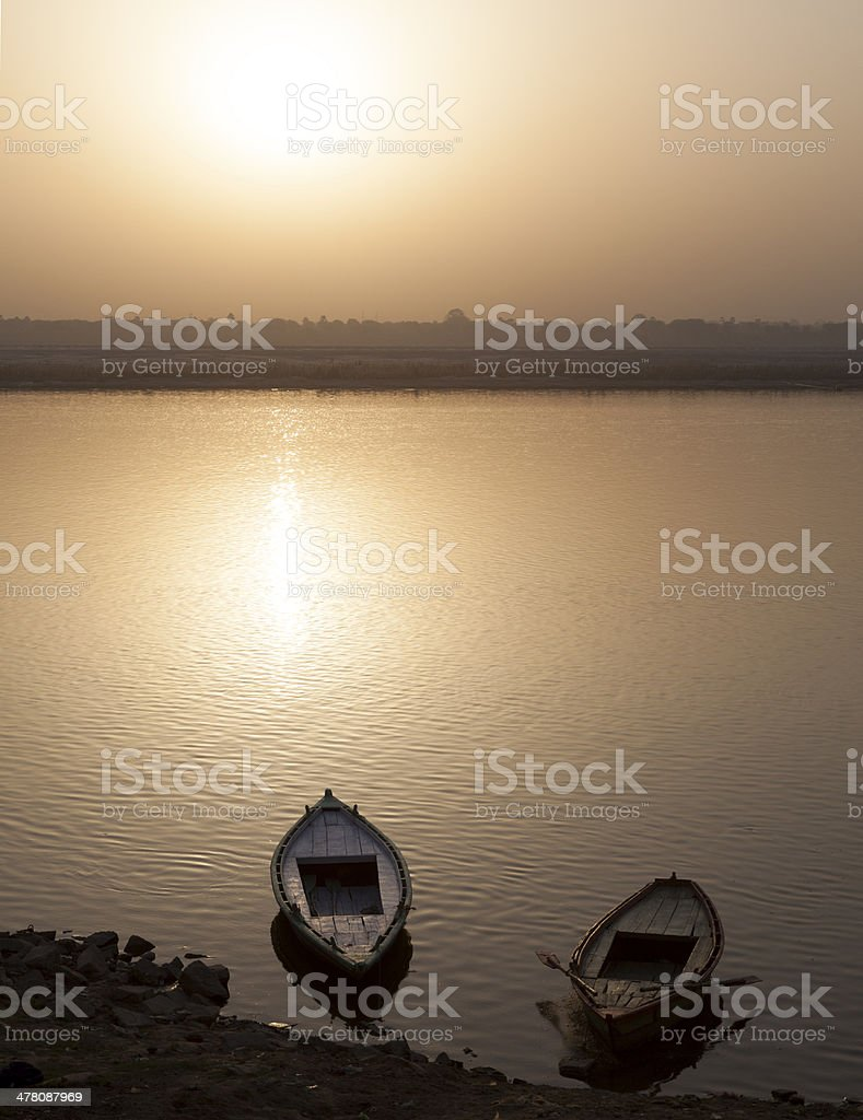 Fishing boats on Ganger River at  Sunrise,Varanasi royalty-free stock photo