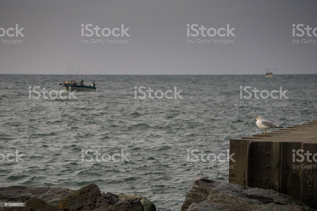 Fishing Boats on Lake Michigan stock photo