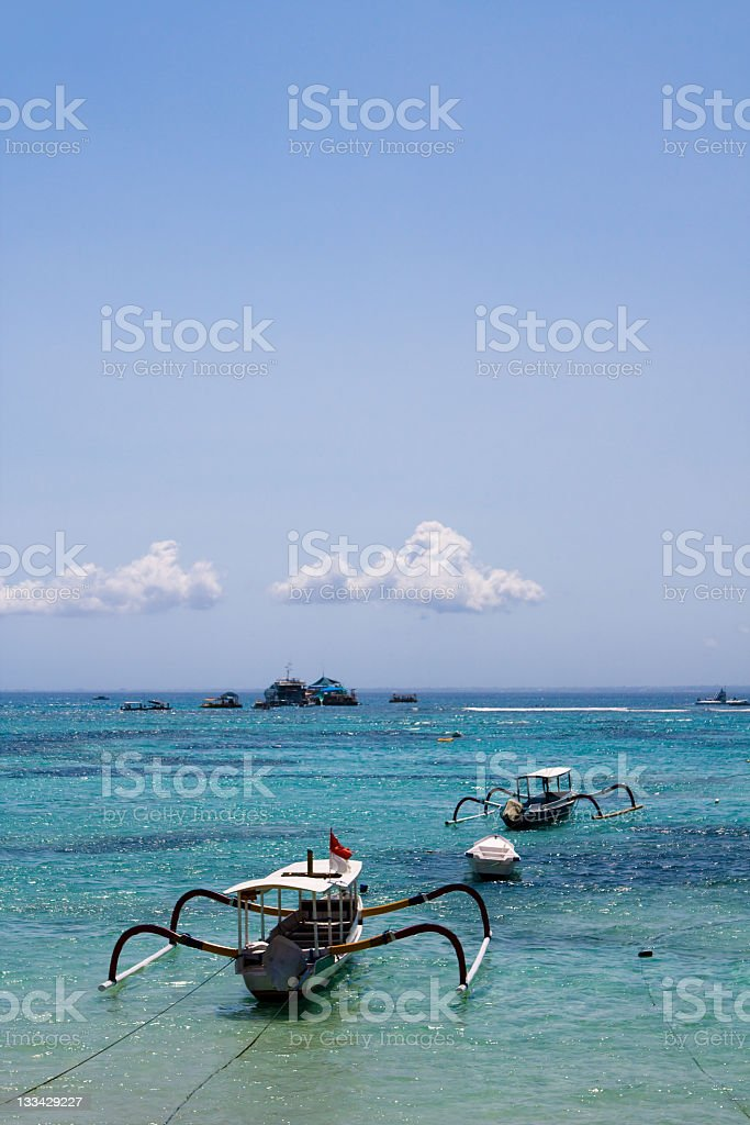Fishing boats on Paradise island stock photo