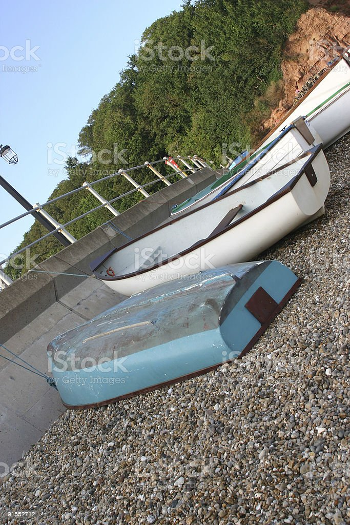 Fishing Boats on Sidmouth Beach royalty-free stock photo