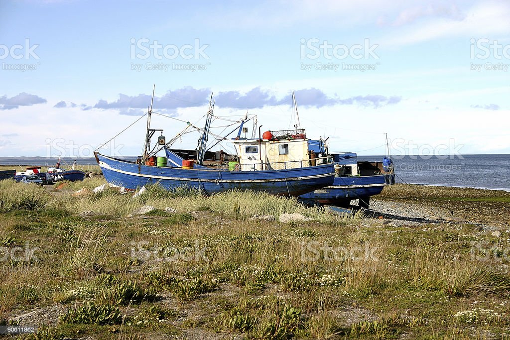 Fishing boats on the bank royalty-free stock photo