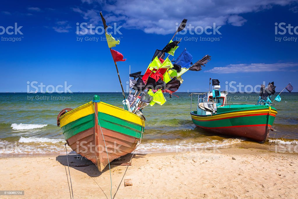 Fishing boats on the beach of Baltic Sea stock photo