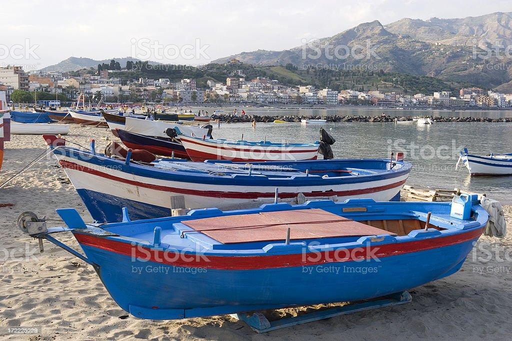 Fishing boats on the beach royalty-free stock photo