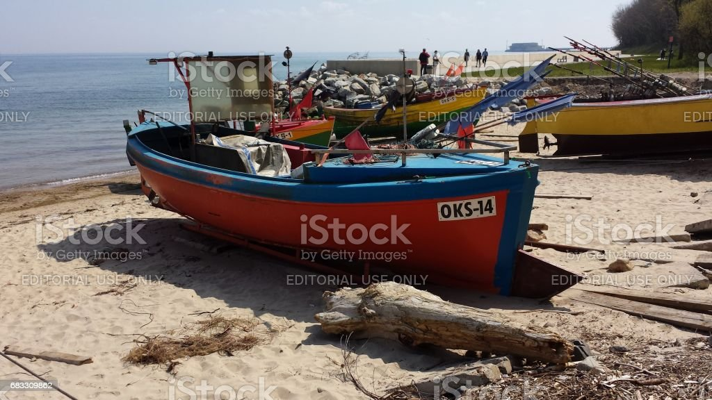Fishing boats on the beach stock photo