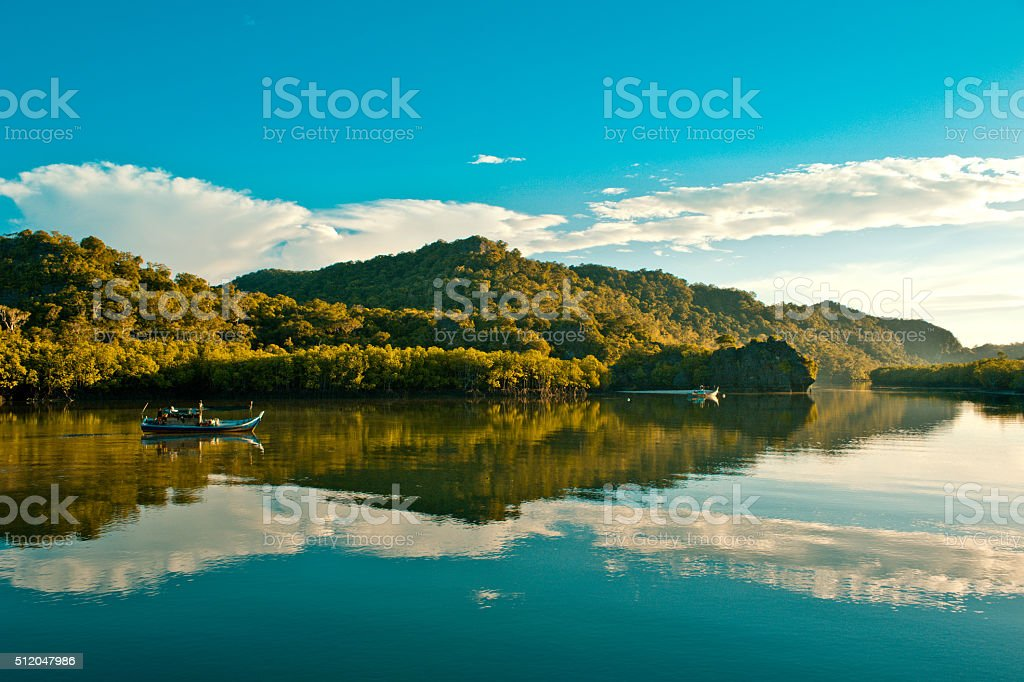 Fishing boats on the  canal,Thailand stock photo