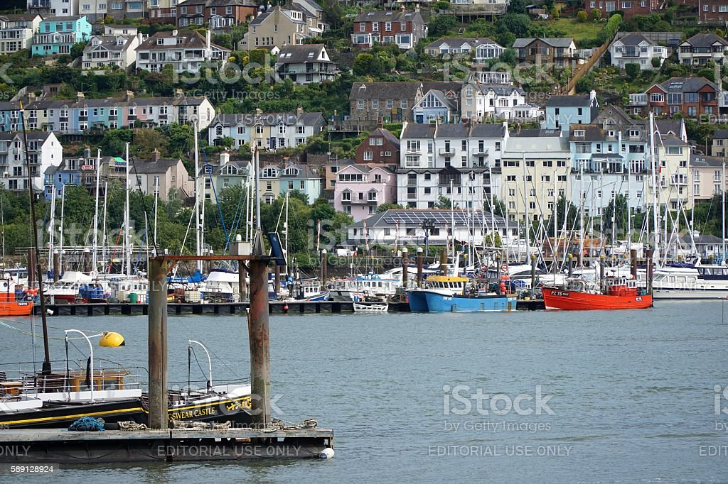 Fishing Boats on the River Dart, Devon stock photo