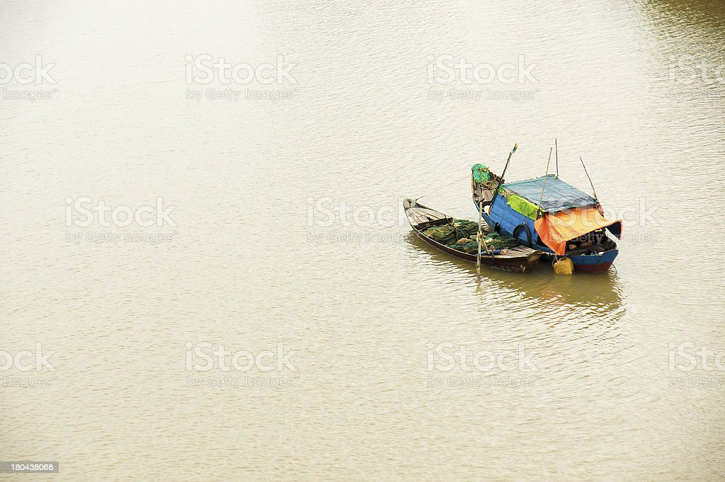 Fishing boats on the river royalty-free stock photo