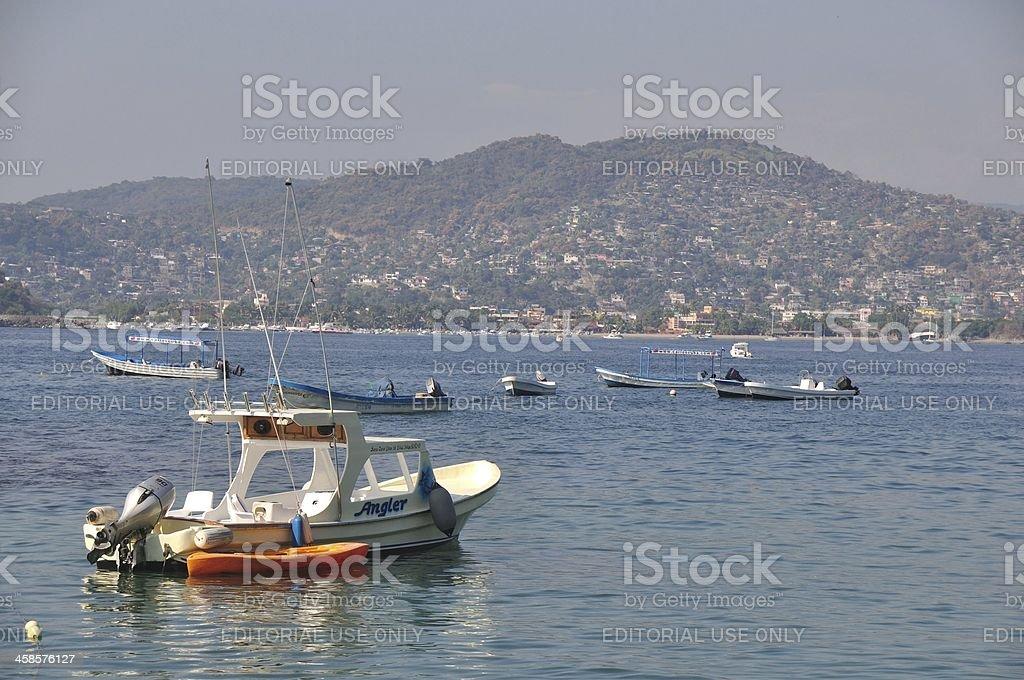 Fishing Boats on Zihuatanejo Bay royalty-free stock photo