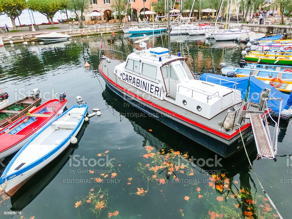 Torri Del Benaco, Italy - September 20, 2014: Fishing boats stock photo