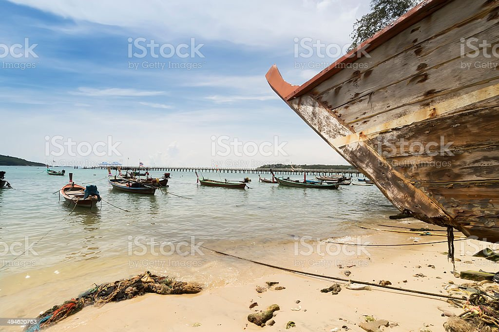 fishing boats, Rawai beach in Phuket, Thailand stock photo