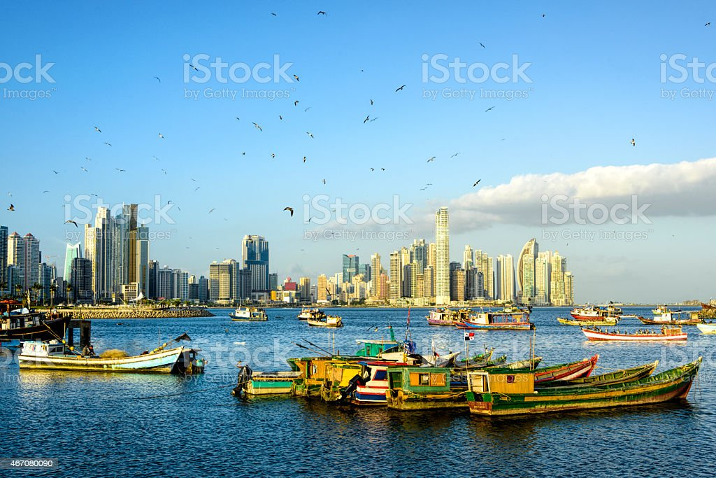 XXXL: Fishing Boats with Panama City skyline stock photo